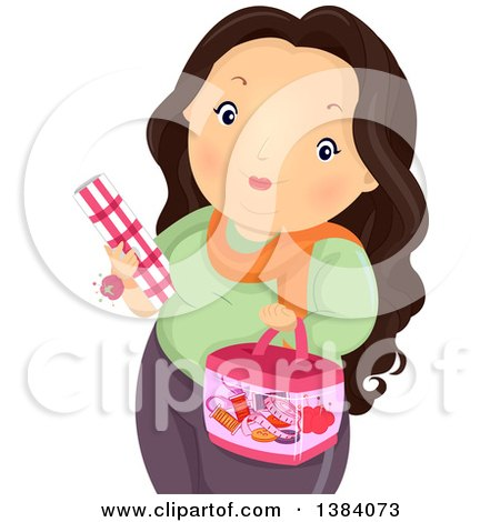 Clipart of a Chubby Brunette White Woman Carrying Fabric and a Sewing Kit - Royalty Free Vector Illustration by BNP Design Studio