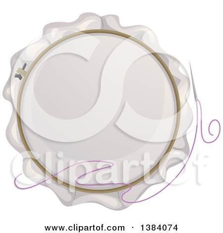 Clipart of a Needle and Embroidery Hoop - Royalty Free Vector Illustration by BNP Design Studio