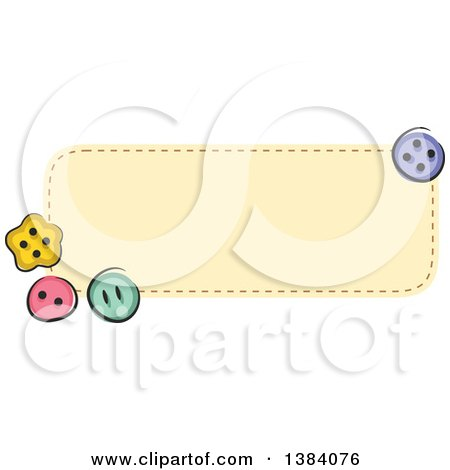 Clipart of a Yellow Sewn Patch Banner Label with Buttons - Royalty Free Vector Illustration by BNP Design Studio