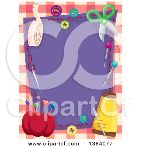 Clipart of a Purple Cloth Frame Bordered in Sewing Supplies and Notions over Plaid - Royalty Free Vector Illustration by BNP Design Studio