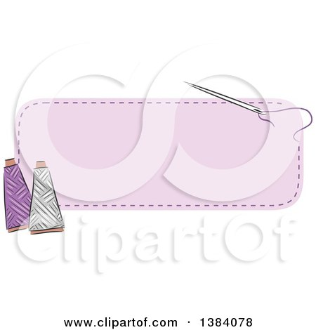 Clipart of a Purple Sewn Patch Banner Label with a Sewing Needle and Thread - Royalty Free Vector Illustration by BNP Design Studio