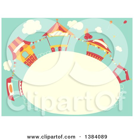 Clipart of a Frame with Carnival Booth Stands Against Sky - Royalty Free Vector Illustration by BNP Design Studio