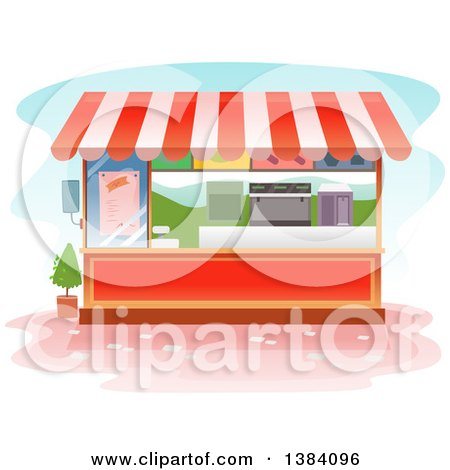 Clipart of a Food Vendor Kiosk Booth - Royalty Free Vector Illustration by BNP Design Studio