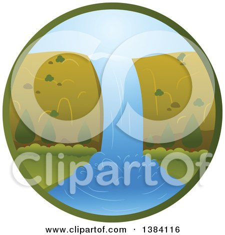 Clipart of a Waterfall Landscape in a Circle - Royalty Free Vector Illustration by BNP Design Studio