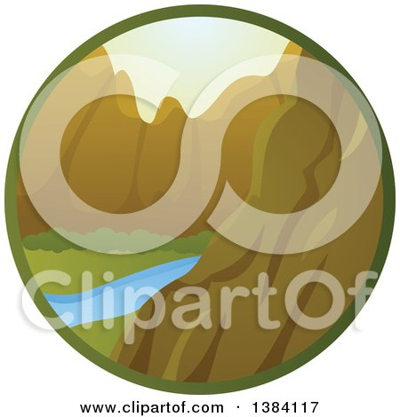 Clipart of a River and Mountain Landscape in a Circle - Royalty Free Vector Illustration by BNP Design Studio