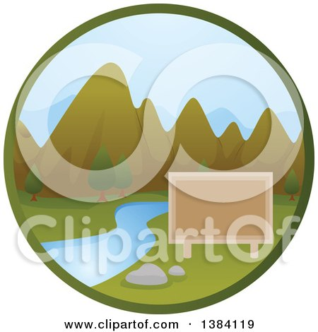Clipart of a Blank Sign, River and Mountain Landscape in a Circle - Royalty Free Vector Illustration by BNP Design Studio