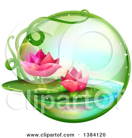 Green Magical Orb with Pink Water Lily Lotus Flowers on a Pond Posters, Art Prints