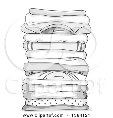Clipart of a Grayscale Pile of Clean Folded Shirts - Royalty Free Vector Illustration by BNP Design Studio