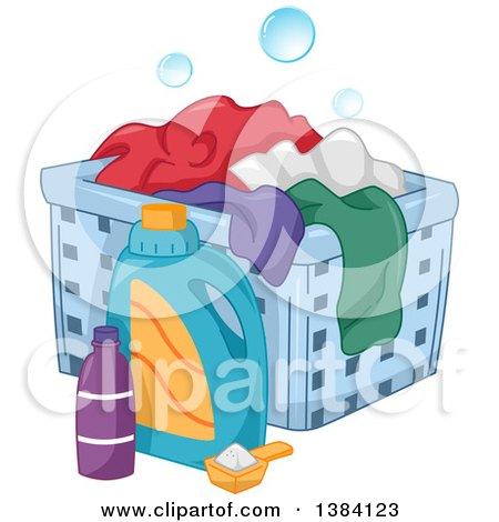 Clipart of Laundry Detergent by a Hamper with Clothes - Royalty Free Vector Illustration by BNP Design Studio