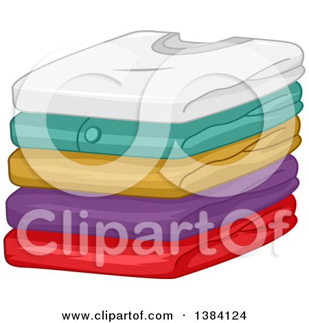 Clipart of a Pile of Folded Clean Shirts - Royalty Free Vector Illustration by BNP Design Studio