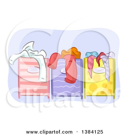 Clipart of Different Colored and Patterned Full Laundry Hampers - Royalty Free Vector Illustration by BNP Design Studio