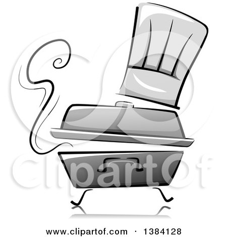 Clipart of a Grayscale Steaming Chafing Dish with a Toque Chef Hat - Royalty Free Vector Illustration by BNP Design Studio
