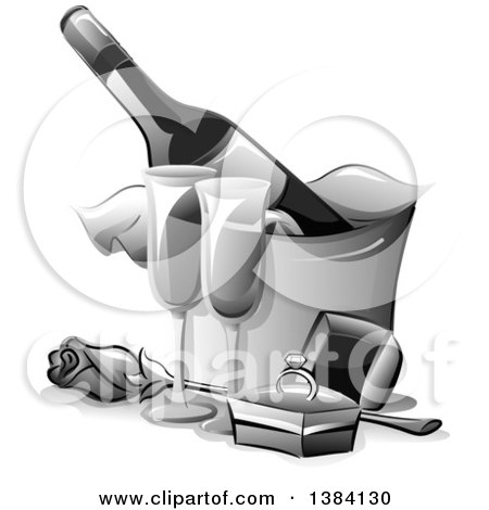 Clipart of a Grayscale Engagement Ring in a Box by a Rose, Glasses and Bottle of Champagne in an Ice Bucket - Royalty Free Vector Illustration by BNP Design Studio