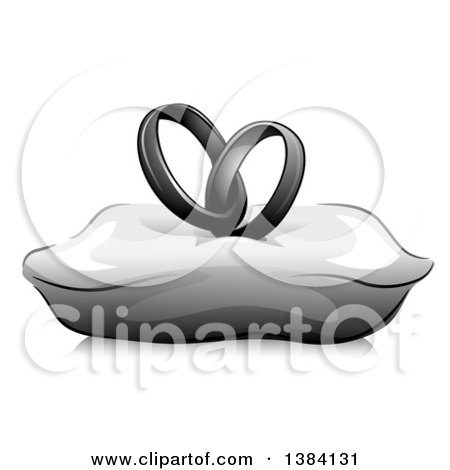 Clipart of a Grayscale Pair of Entwined Wedding Band Rings on a Pillow - Royalty Free Vector Illustration by BNP Design Studio
