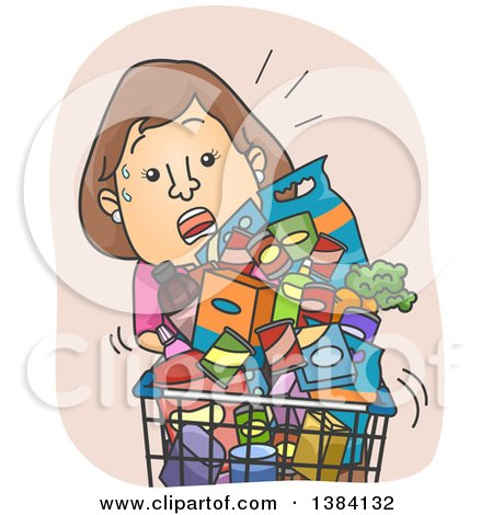 Clipart of a Cartoon Sweaty Brunette White Woman Struggling with an Overfilled Grocery Cart - Royalty Free Vector Illustration by BNP Design Studio