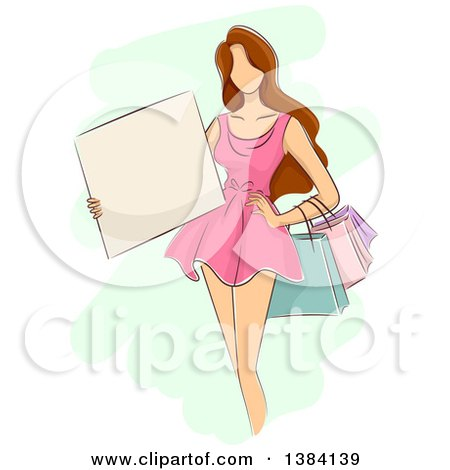 Clipart of a Sketched Faceless Brunette White Woman in a Pink Dress, Holding Shopping Bags and a Blank Sign - Royalty Free Vector Illustration by BNP Design Studio