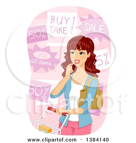 Clipart of a Brunette White Woman Choosing from Grocery Store Discounts - Royalty Free Vector Illustration by BNP Design Studio