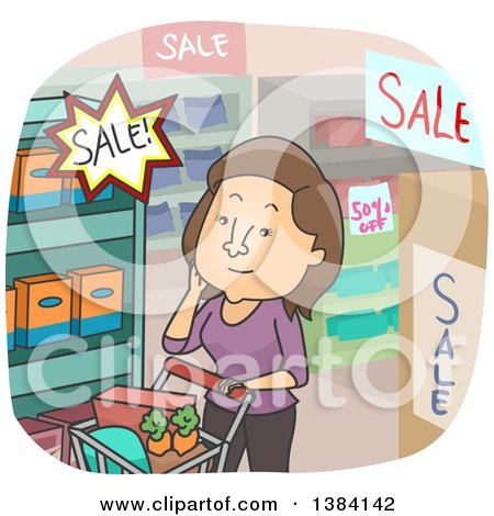 Clipart of a Cartoon Brunette White Woman Shopping Sales in a Grocery Store - Royalty Free Vector Illustration by BNP Design Studio