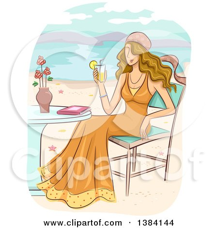 Clipart Of A Dirty Blond White Woman Wearing A Bohemian Dress And Holding A Cocktail While Sitting At A Table On A Beach Royalty Free Vector Illustration