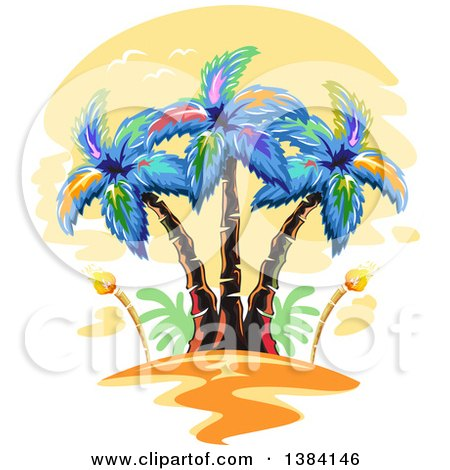 Clipart of Hawaiian Palm Trees and Tiki Torches at Sunset - Royalty Free Vector Illustration by BNP Design Studio