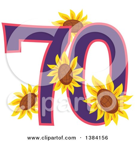 Clipart of a Seventieth Anniversary or Birthday Design with Number 70 and Sunflowers - Royalty Free Vector Illustration by BNP Design Studio