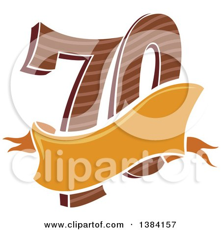 Clipart of a Seventieth Anniversary or Birthday Design with Number 70 and a Blank Ribbon Banner - Royalty Free Vector Illustration by BNP Design Studio