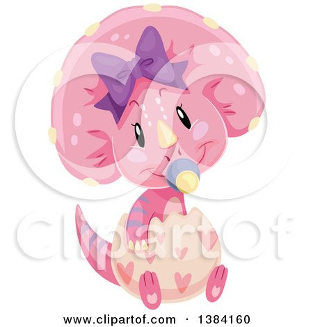 Clipart of a Cute Pink Baby Triceratops Dinosaur Hatching - Royalty Free Vector Illustration by BNP Design Studio