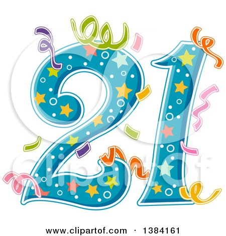 Clipart of a Number 21 with Party Confetti - Royalty Free Vector Illustration by BNP Design Studio