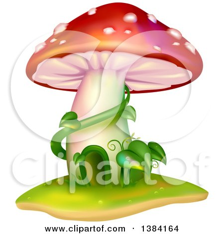 Clipart of a Mushroom House with Vines - Royalty Free Vector Illustration by BNP Design Studio