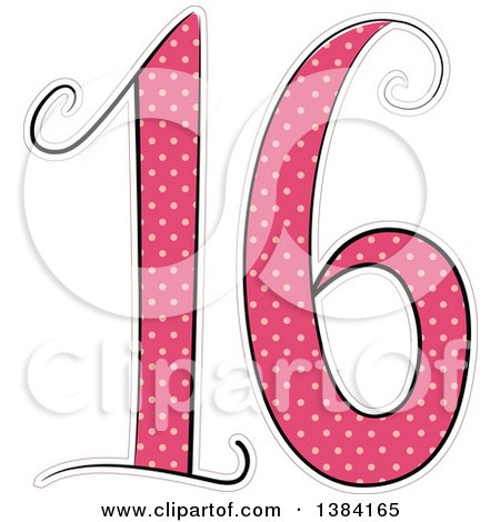 Clipart of a Pink Number 16 Made of Polka Dots for a Sweet Sixteen Birthday - Royalty Free Vector Illustration by BNP Design Studio