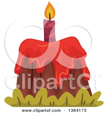 Clipart of a Volcano Themed First Birthday Cake - Royalty Free Vector Illustration by BNP Design Studio