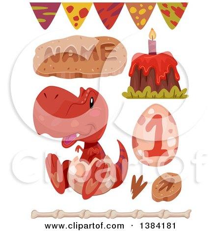 Clipart of Red Boyish Tyrannosaurus Rex Dinosaur Themed Birthday Party Design Elements - Royalty Free Vector Illustration by BNP Design Studio