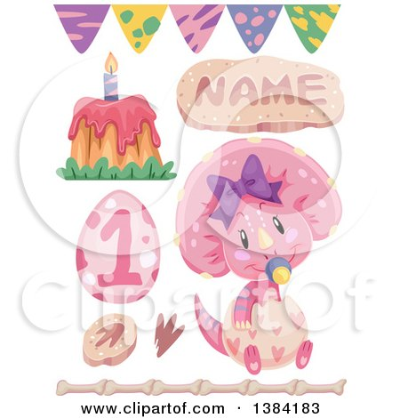 Clipart of Pink Girly Triceratops Dinosaur Themed Birthday Party Design Elements - Royalty Free Vector Illustration by BNP Design Studio