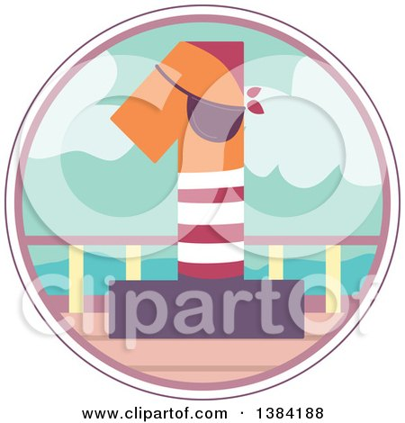 Clipart of a First Birthday Badge with a Number 1 Pirate on a Boat - Royalty Free Vector Illustration by BNP Design Studio