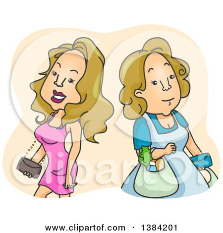 Clipart of Blond White Women Shown As Fashionable and Sexy and Homely - Royalty Free Vector Illustration by BNP Design Studio