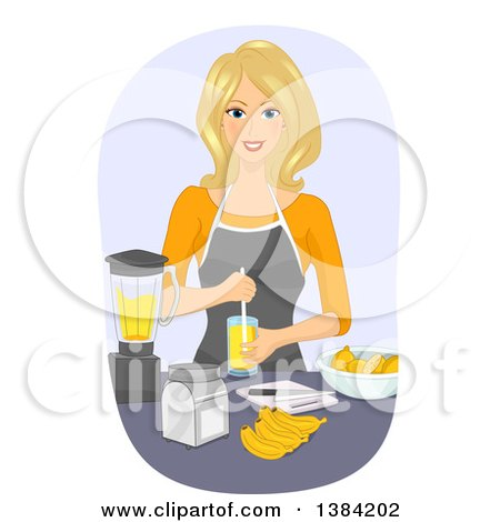 Clipart of a Happy Blond White Woman Making Fruit Smoothie - Royalty Free Vector Illustration by BNP Design Studio