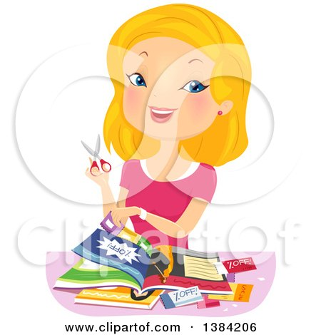 Clipart of a Blond White Woman Cutting Coupons - Royalty Free Vector Illustration by BNP Design Studio