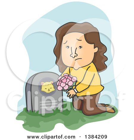 Clipart of a Cartoon Sad Brunette White Woman Leaving Flowers on Her Deceased Cats Grave - Royalty Free Vector Illustration by BNP Design Studio