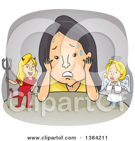 Clipart of a Cartoon Stressed Woman Torn Between Good and Bad Ideas - Royalty Free Vector Illustration by BNP Design Studio
