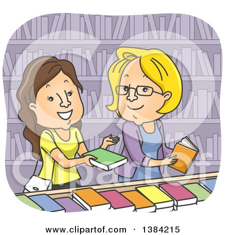 Clipart of Cartoon Caucasian Women Discussing Books in a Library or Store - Royalty Free Vector Illustration by BNP Design Studio
