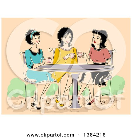Clipart of a Group of Retro Women Having Tea at a Cafe - Royalty Free Vector Illustration by BNP Design Studio