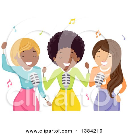 Clipart of a Black Female Musician and Backup Singers - Royalty Free Vector Illustration by BNP Design Studio