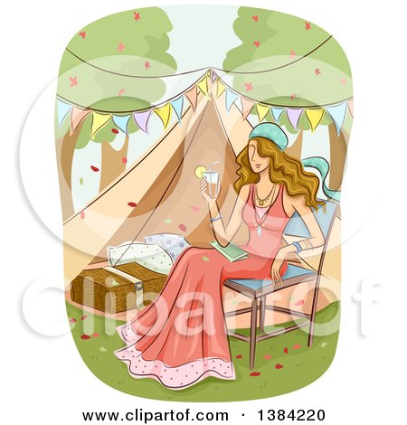 Clipart of a Dirty Blond White Woman Holding a Cocktail and Sitting in a Chair While Glamping - Royalty Free Vector Illustration by BNP Design Studio