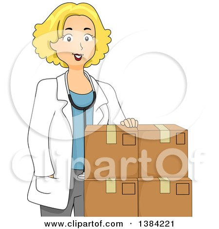 Clipart of a Happy Blond Female Doctor with Boxes of Medicine - Royalty Free Vector Illustration by BNP Design Studio