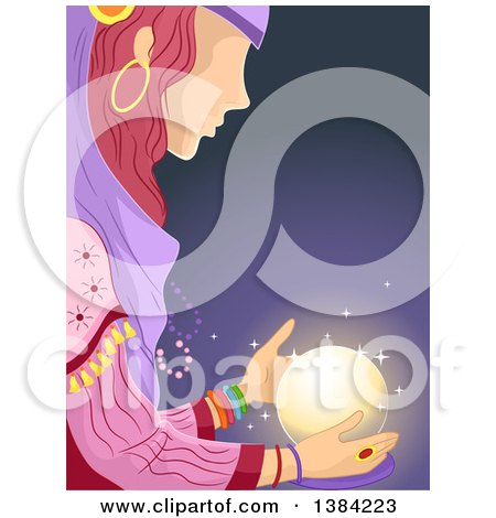 Gypsy Woman Looking at a Glowing Crystal Ball Posters, Art Prints
