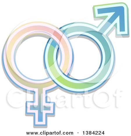 Colorful Gradient Intertwined Male and Female Gender Symbols Posters, Art Prints