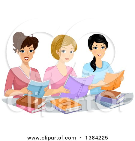 Clipart of a Group of Happy Women in a Book Club, Reading - Royalty Free Vector Illustration by BNP Design Studio