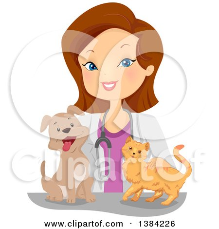 Clipart of a Happy Brunette White Female Veterinarian with a Cat and Dog - Royalty Free Vector Illustration by BNP Design Studio