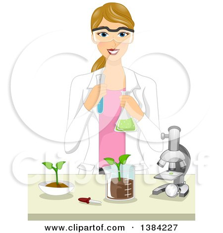 Clipart of a Happy Blond White Female Agricultural Scientist Working in a Laboratory - Royalty Free Vector Illustration by BNP Design Studio