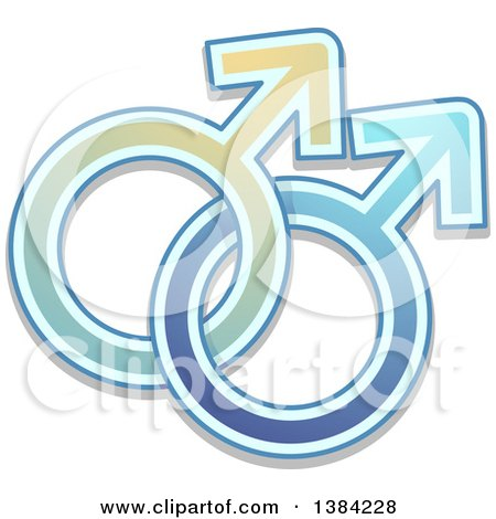 Clipart of Blue Intertwined Male Gender Symbols - Royalty Free Vector Illustration by BNP Design Studio